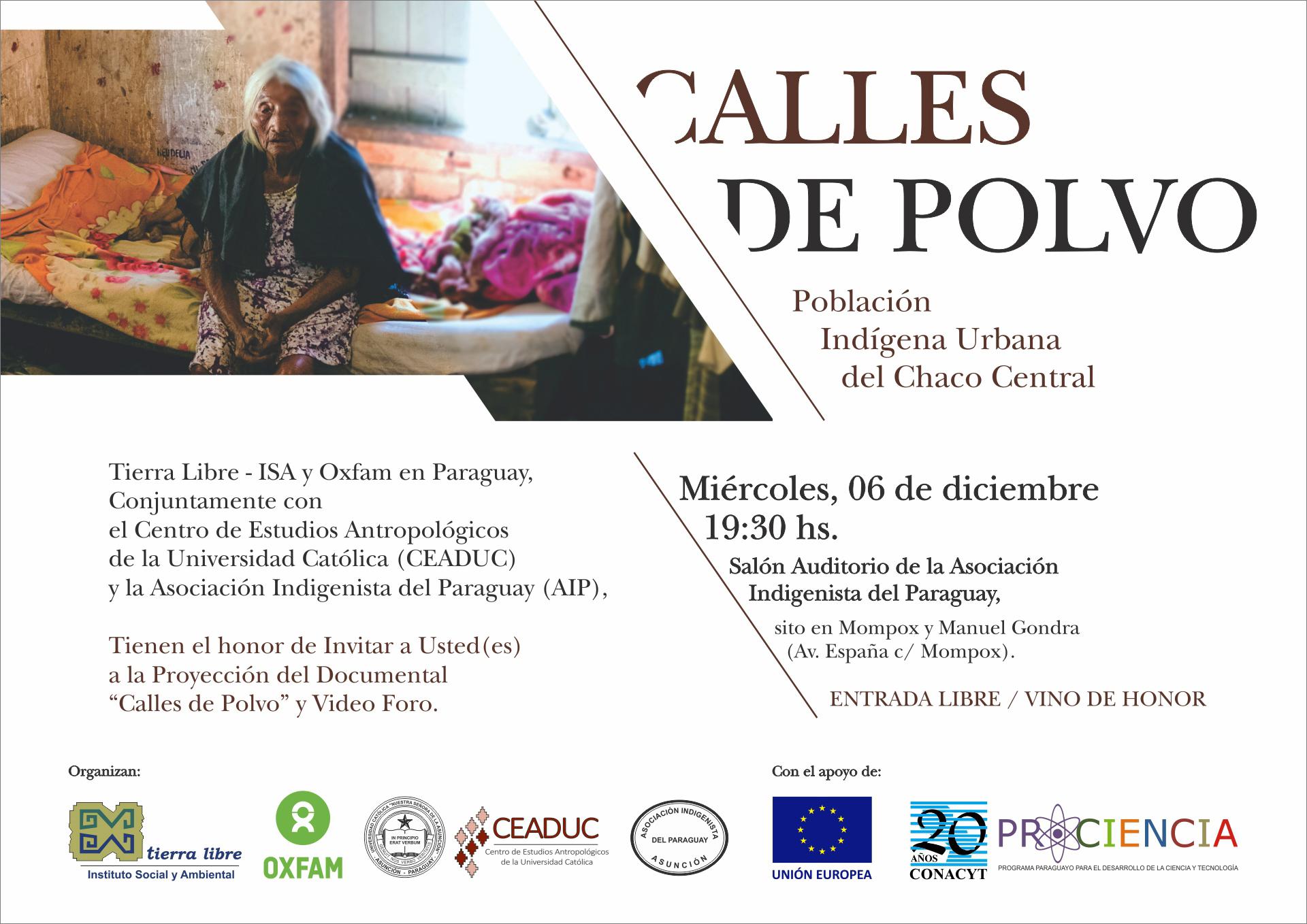 Invitación a la proyección del documental Calles de Polvo – miércoles 06/12/17 Salón Auditorio de la AIP